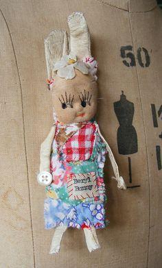 Handmade art doll BROOCH with bunny ears