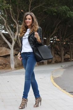Zara jacket, jeans, shoes & bag, Sheinside T-shirt.