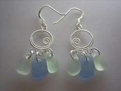 SEA GLASS EARRINGS Sterling Silver Seafoam by seagullseaglass, $39.00