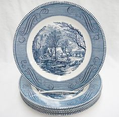 Currier & Ives Royal China Lot of 5 Dinner Plates The Old Grist Mill Blue Vtg #RoyalChina
