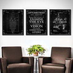 Optometrist Gift  SET OF 3  Optometry Gift  Optometry Art
