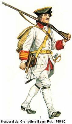 French; Bearn Regiment, Grenadier Corporal 1755-60. Note the facing is that worn in Europe, when posted to Canada they received new issue uniforms with both Blue facings and blue waistcoats.