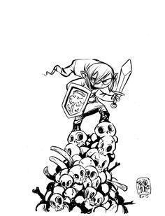Link, the Legend of Zelda by Skottie Young Skottie Young, Robert Mcginnis, Cartoon Styles, Cartoon Art, Art Pulp Fiction, Pulp Art, Young Art, Comic Kunst, Geek Art