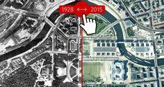 Berlin en 1928 et aujourd'hui - comparaisons de photos satellitaires Berlino a confronto nel 1928 et oggi. https://1928.tagesspiegel.de/