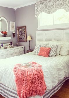 Bedroom Decor Coral teal and coral love the curtains - possible bedroom | new home