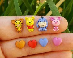 Winnie-The-Pooh stud earrings inspired.Piglet,Tiger,Eeyore,Pooh jewelry.Winnie Pooh jewelry.Disney jewelry.Clay Disney.Kawaii.Hypoallergenic