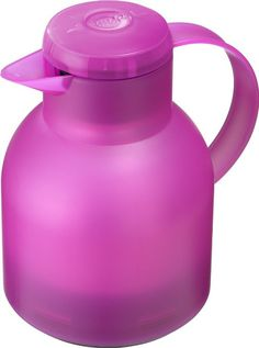 Emsa 515509 Isolierkanne, 1 Liter, Quick Press Verschluss, 100% dicht, Transluzent Pink-City, Samba
