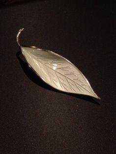 Vintage 1950's David Andersen sterling silver and white guilloche enamel leaf brooch by VikingRaids on Etsy https://www.etsy.com/listing/187014620/vintage-1950s-david-andersen-sterling