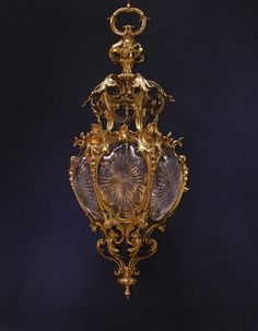 OnlineGalleries.com - French gilded bronze and cut glass 'Rococo' Lantern: