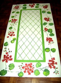 Check out our geraniums selection for the very best in unique or custom, handmade pieces from our shops. Painted Floor Cloths, Painted Rug, Hand Painted Canvas, Painted Kitchen Floors, Painted Floors, Floor Art, Floor Rugs, Drop Cloth Rug, Drop Cloths