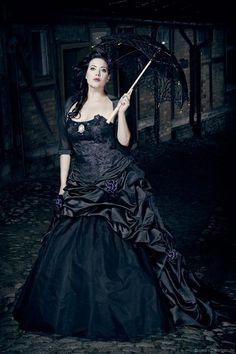 Angel After Dark. Gothic Dress, Gothic Lolita, Dark Beauty, Gothic Beauty, Dark Fashion, Gothic Fashion, Goth Wedding Dresses, Victorian Costume, Edwardian Costumes