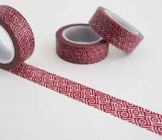 Single roll of washi masking tape with modern red swirls pattern. Great for travel journals, scrapbooking, gift wrapping, decorating cards and envelopes and more! Add a little dash of cuteness to any