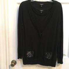 d13b8098fa1 Talbots 2 pc Knit Cardigan SET Medium Black sweater Embellished Beads  Sequins  Talbots  CardiganSweater