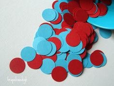 Turquoise and Red Confetti 500 pcs by Grapekneehigh on Etsy, $5.00