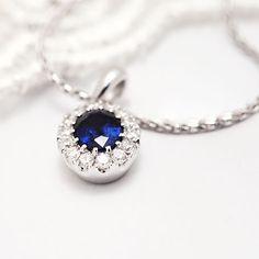 Coriolan blue saphire diamond necklace