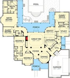 2772 sq ft Plan 28338HJ: Premium Hill Country Ranch House Plan