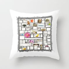Curio Cabinet Mixed Media Drawing and Collage  Throw Pillow by Darci dproject