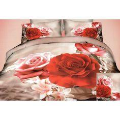 Béžové posteľné obliečky s motívom farebných ruží - domtextilu.