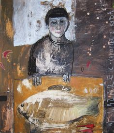 Malgorzata Lazarek - Garçon avec un poisson Art And Illustration, Figure Painting, Painting & Drawing, Collage Art, Collages, Abstract Portrait, Fish Art, Mix Media, Contemporary Paintings
