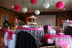 Bridal Shower using Black & White Damask design & Hot Pink! (This was my actual wedding shower my cousin did a good job!)