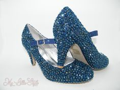Navy blue rhinestone Mary Jane mid heels Bridal Bridesmaid Mother of the Bride Mother of the Groom Wedding Guest Ball Award Ceremony Evening Bling Heels, Glitter High Heels, Bridal Heels, Wedding Heels, Court Heels, Bridesmaid Shoes, Blue Sparkles, Mary Jane Heels, Evening Shoes