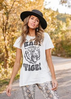 Easy Tiger Tee in White Tiger Shirt, Shirt Dress, T Shirt, Hipster, Skinny Jeans, Tees, Shopping, Clothes, Art Ideas