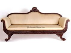 Beau Sofa Set 015: Teak Wood Sofa Set With Very Fine Carving Pattern. The Back  Of This Traditional Sofa Set Is Designed In Bow Shaped Pattern With A  Beautiful ...
