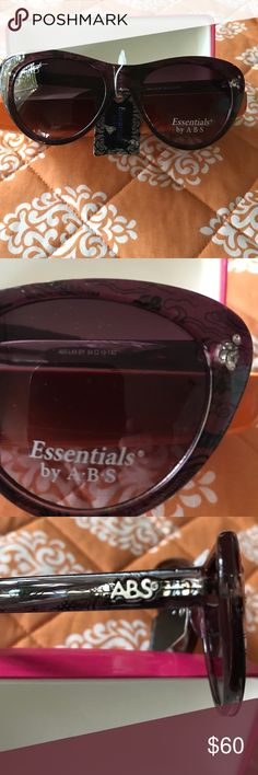 Brand new Essentials by ABS sunglasses with case Brand new Essentials by ABS purple sunglasses with case. Size 54-19 -140 ABS Accessories Sunglasses