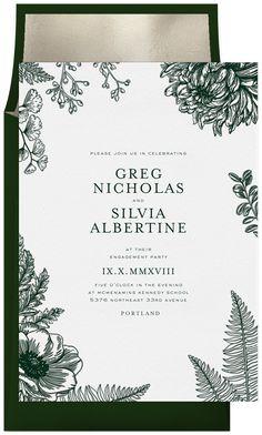 Letterpress Botanical Invitation in White