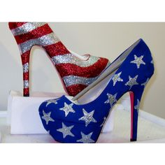 WOMENS Kustom Made to Order AMERICAN FLAG .. Heels All Sizes 5.5 - 10 ($75) ❤ liked on Polyvore featuring shoes, pumps, heels, sapatos, high heels, saltos, striped pumps, high heel shoes, american flag shoes and glitter shoes