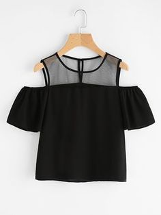 Store Open Shoulder Mesh Panel Prime on-line. SheIn presents Open Shoulder Mesh Panel Prime & extra to suit your trendy wants. Girls Fashion Clothes, Teen Fashion Outfits, Mode Outfits, Look Fashion, Outfits For Teens, Girl Fashion, Summer Outfits, Girl Outfits, Fashion Dresses