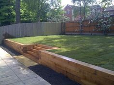 wooden garden retaining wall wood retaining wall ideas landscape designs with gr. - wooden garden retaining wall wood retaining wall ideas landscape designs with great visual appeal b - Wooden Retaining Wall, Cheap Retaining Wall, Retaining Wall Steps, Backyard Retaining Walls, Retaining Wall Design, Backyard Patio, Sleeper Retaining Wall, Backyard Ideas, Railroad Tie Retaining Wall