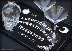 DIY Ouija Board Serving Tray - Trash to Treasure - Cricut Tutorial - DIY Fail - Gothic Entrtaining - Goth It Yourself - www.MeandAnnabelLee.com