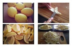 Wash your lemon and cut into wedges. Candied Lemon Peel, Candied Lemons, Peach, Wedges, Fruit, Food, Essen, Peaches, Meals