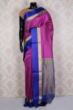 Purple pure silk cotton saree with zari weaved pallu -SR15112 | cotton handloom sarees collection at best price