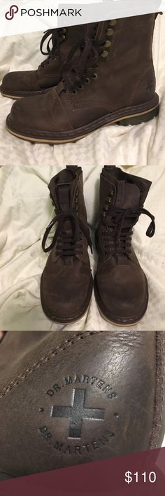 Brown leather Docs Worn once. Brown, soft leather Dr. Martens. Bought at Journeys. In very good condition. Men's size 8. Does not come with box. Dr. Martens Shoes Boots