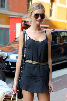 A great looking dress taken up a notch with a belt. She's from Pert, Australia and is now modeling in the city.