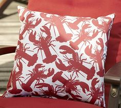 Lobster Outdoor Pillow #potterybarn  Thought of B. Shelton!