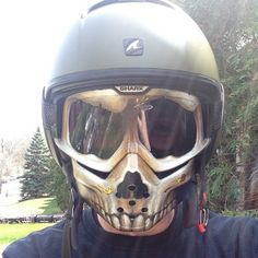 skull facemask with shark raw helmet