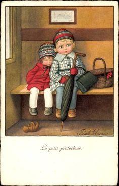 Artist Postcard Ebner, Pauli, Le petit protecteur, Der kleine Beschützer, Kinder
