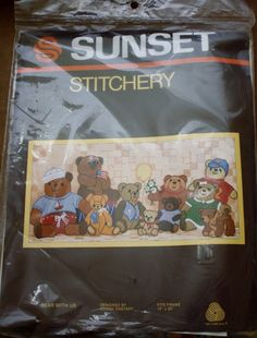 Bear With Us - Sunset Stitchery -  Embroidery Kit Needlework 10 in by 20 in Framed - Kit with Ample Yarn by BluetreeSewingStudio on Etsy