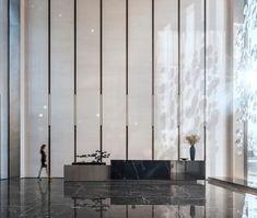 首发 | 青岛青特悦海府售楼处会所 / 柯翊设计 Clinic Interior Design, Lobby Interior, Luxury Interior, Modern Interior, Medical Office Design, Modern Office Design, Lobby Reception, Reception Design, Plywood Furniture