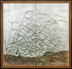 Japanese Screen: Wild Grasses On Silver Background; c.1920.