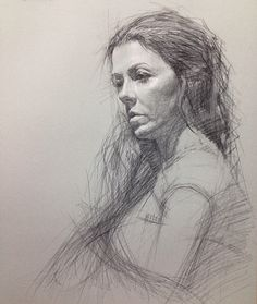 This is a figure drawing of a woman slightly staring down. The medium is pencil. I love the texture to the hair. It looks very realistic especially the light source of the face. What I would suggest is to add some value and contrast to the arm instead of only having value onto the face.