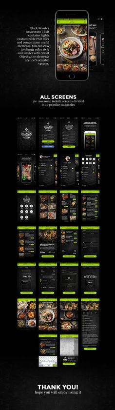 Black Rooster is a professional & premium mobile user interface kit. It includes 26 high quality mobile iOS screens, and 100+ UI elements carefully assembled for Photoshop. It's the perfect UI kit for designing an interactive prototype mobile app for restaurants of all kinds. Black Rooster Restaurant UI Kit contains 3 highly customizable PSD files, custom smart objects, and 100% scalable vector elements.