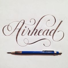 Airhead hand lettering by jeremybooth Hand Drawn Type, Hand Drawn Lettering, Creative Typography, Types Of Lettering, Brush Lettering, Graphic Design Typography, Lettering Design, Script Lettering, Calligraphy Letters