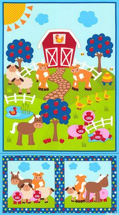 """Apple Hill Farm - Sunny Day Animals - 24"""" x 44"""" PANEL - Quilt Fabric from www.eQuilter.com"""