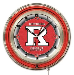 Rutgers University Logo Neon Wall Clock➕More Pins Like This At FOSTERGINGER @ Pinterest ➖ ✖️