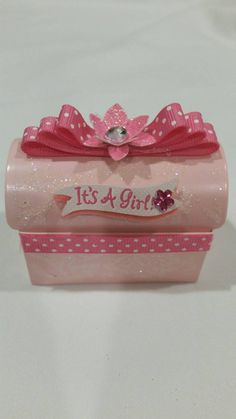 """""""It's a girl"""" baby shower party favors Check out this item in my Etsy shop https://www.etsy.com/listing/250762195/12-pcs-its-a-girl-pink-shimmery-chest"""
