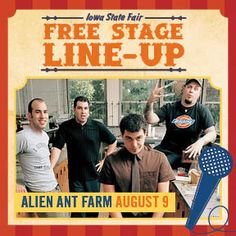 See the list of free shows on the Fairview Stage during the Iowa State Fair. Alien Ant Farm, New Found Glory, Good Charlotte, Iowa State Fair, Everclear, Free Shows, Farm Photo, What Is Your Name, Blink 182
